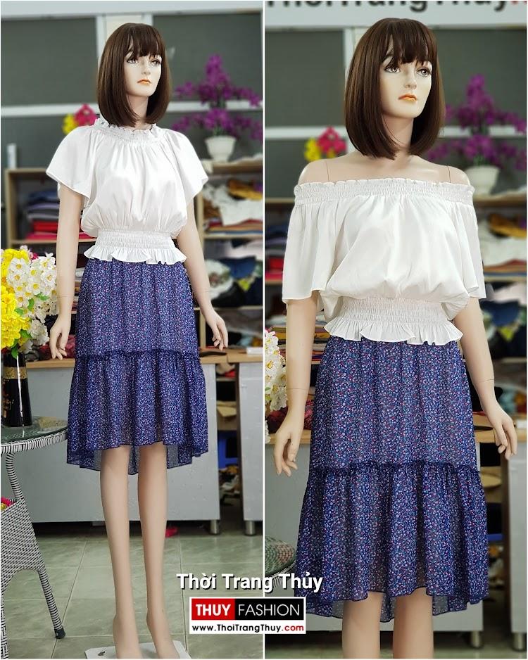 áo trễ vai mix chân váy xòe V715 Thời Trang Thủy hải phòng