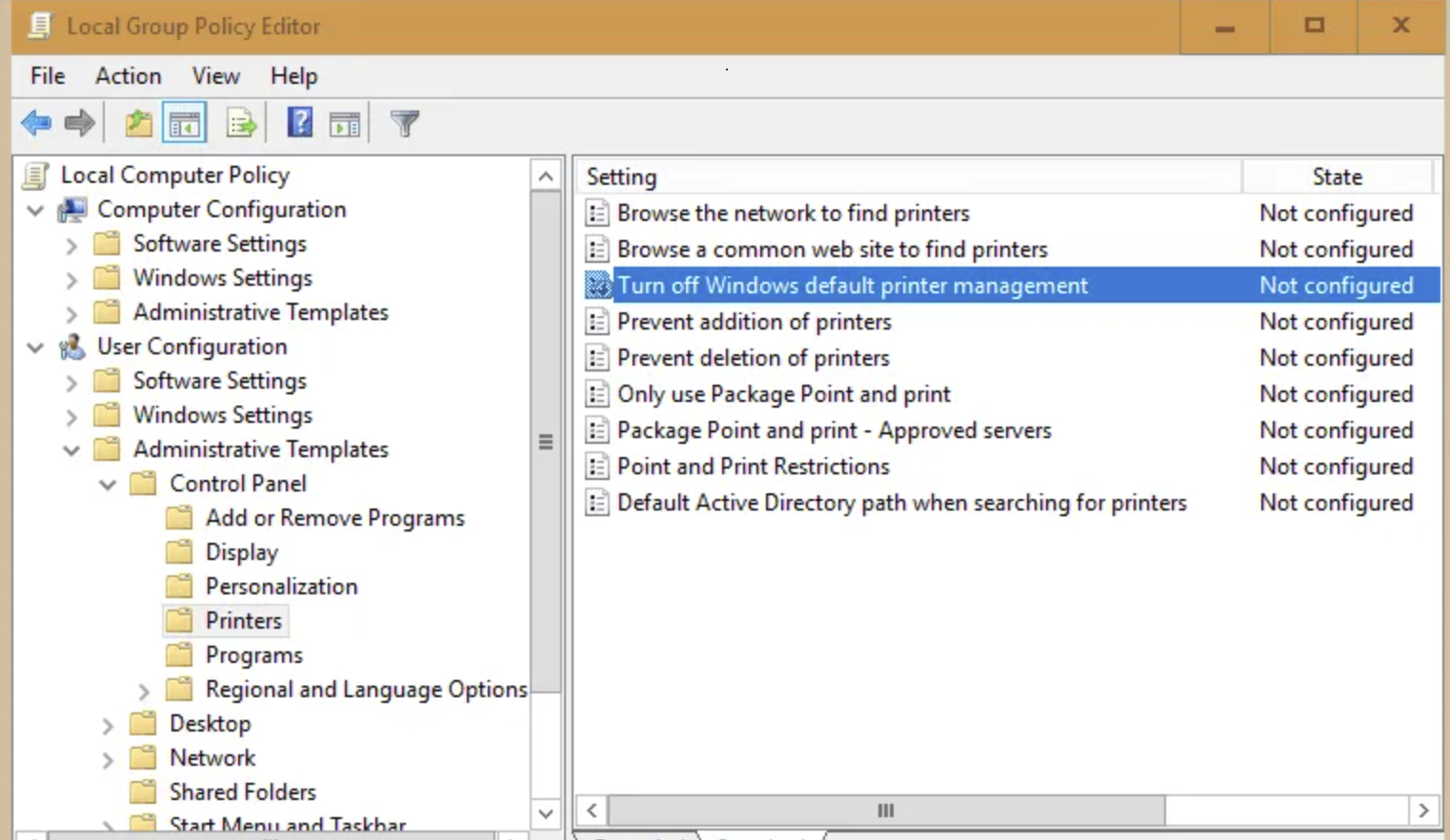 Enable a policy called Turn off Windows default printer management.