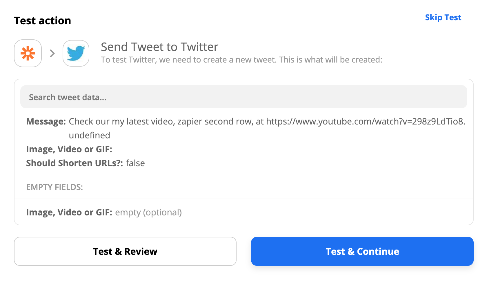 Test your Twitter action and see the generated tweet