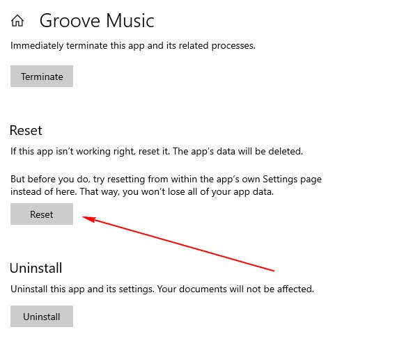 Reset for Groove Music app