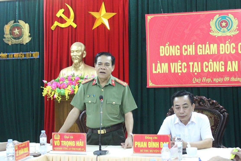 Đồng chí Đại tá Võ Trọng Hải – Giám đốc Công an tỉnh phát biểu chỉ đạo tại buổi làm việc.