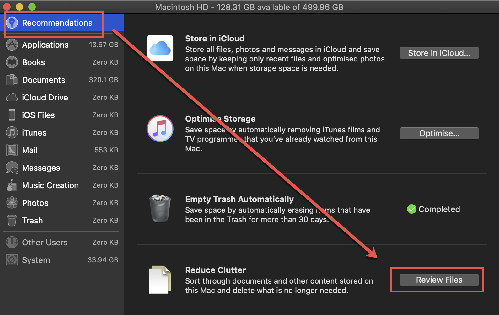 Click on the Review Files button for Reduce Clutter Recommendation in macOS Storage Management.