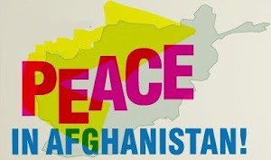 Banner: «Peace in Afghanistan!».