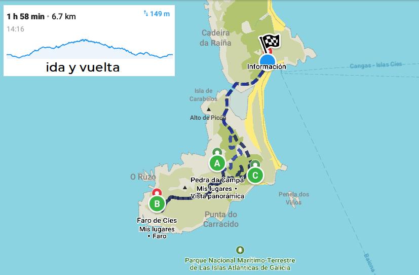 mapa ruta faro de cíes