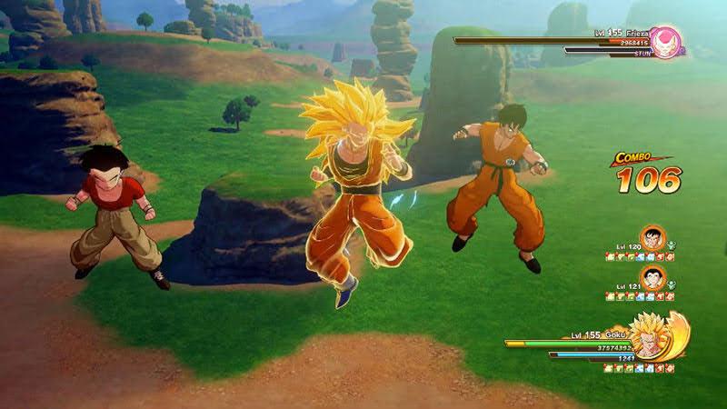 Bắt đầu Z-Combo, cả 3 nhân vật đều vào đánh.