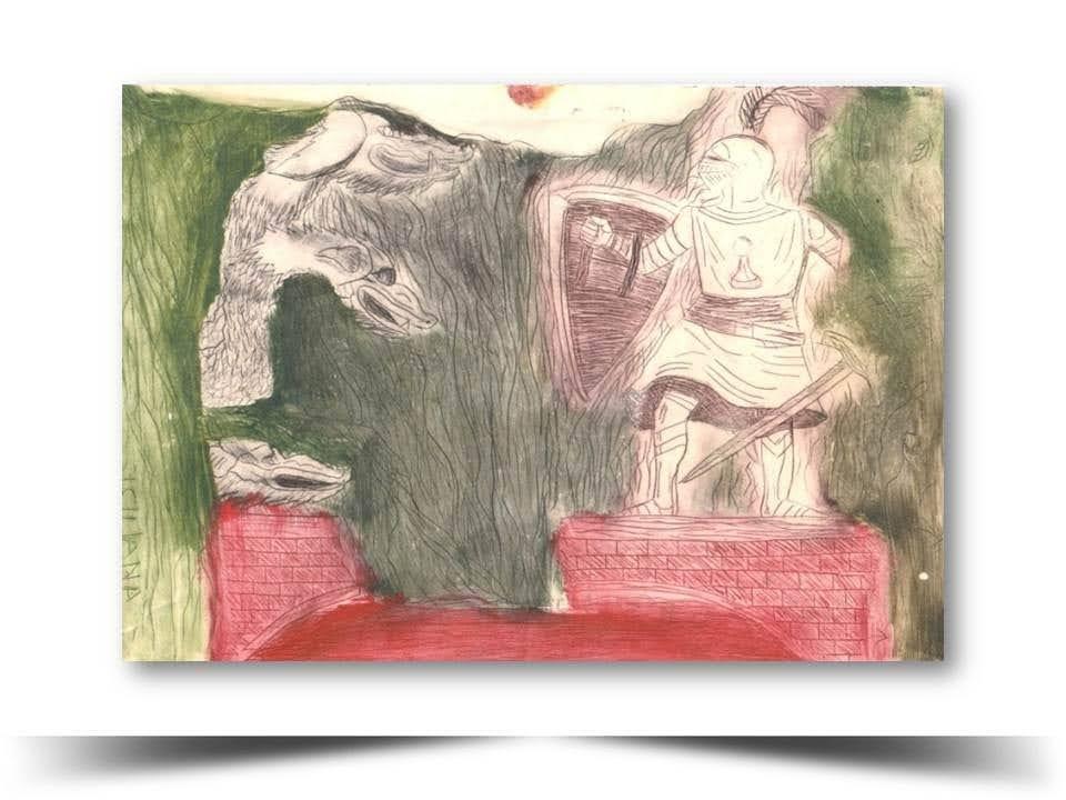 Grabado en Punta Seca Juego de Estrategias 1998 Obra del Artista Ecuatoriano Lalinchi Arreaga Burgos E.E.A.B