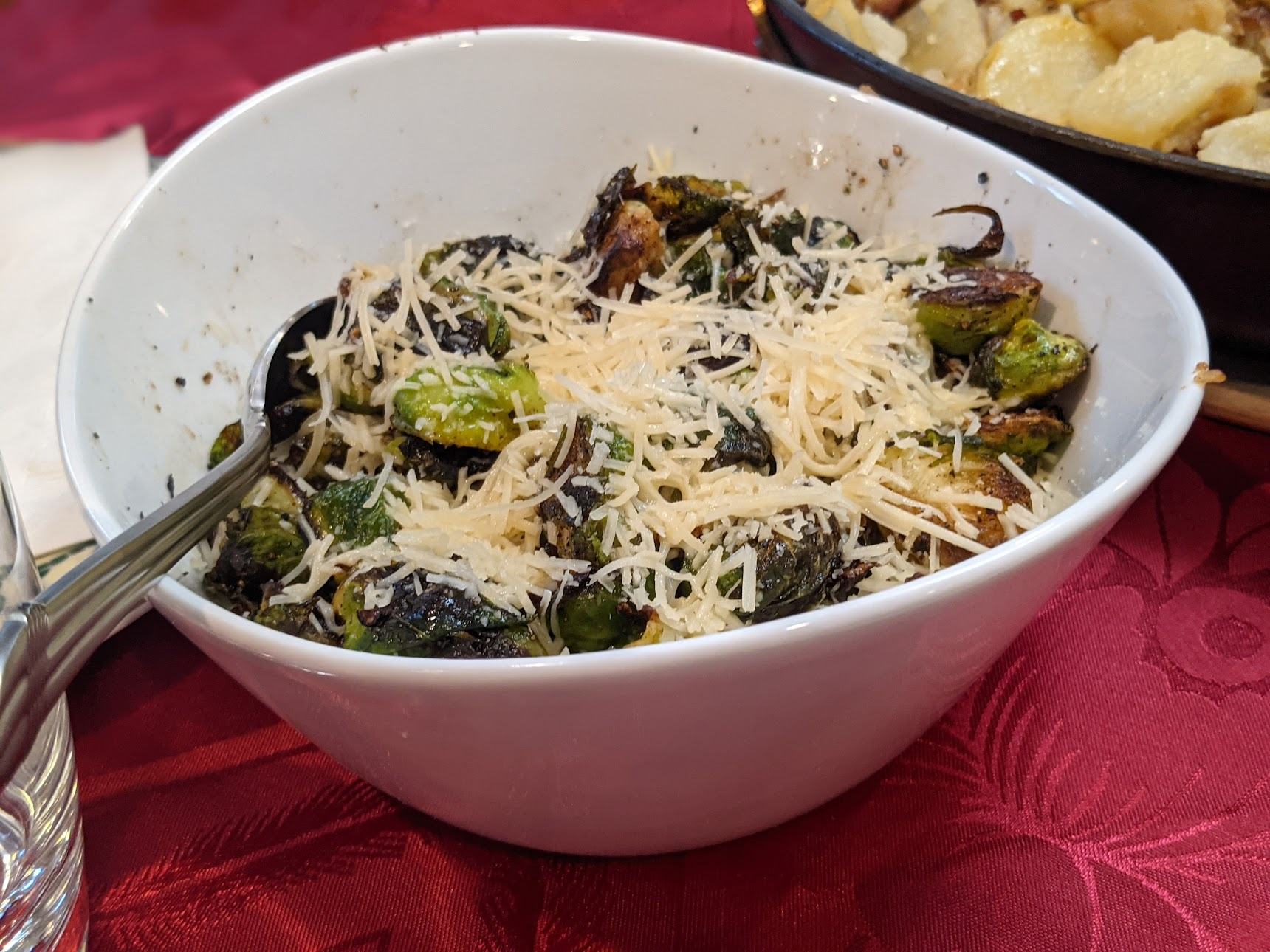 Cooked Brussels sprouts in a bowl