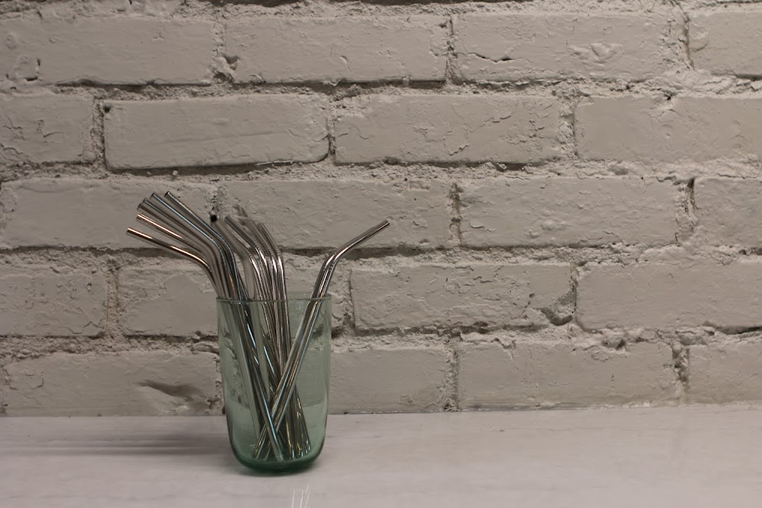 Exist Green Stainless Steel Angled Straws