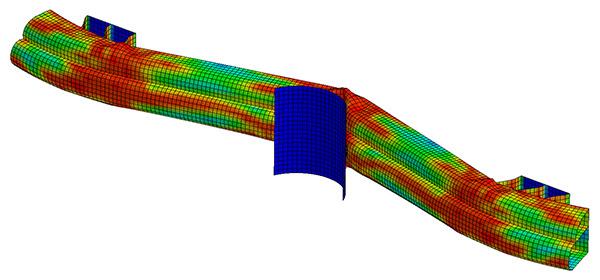 Деформация бампера при ударе, расчёт выполнен явным методом интегрирования по времени