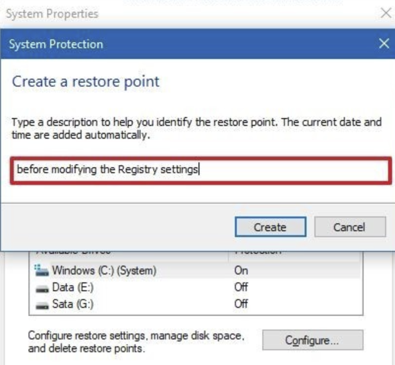 Type a description for the system restore point.