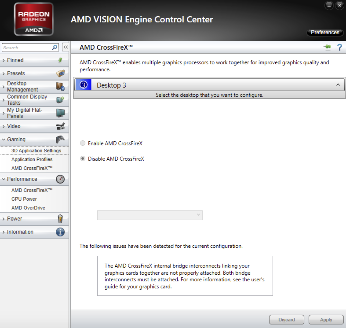 Disable AMD CrossFireX