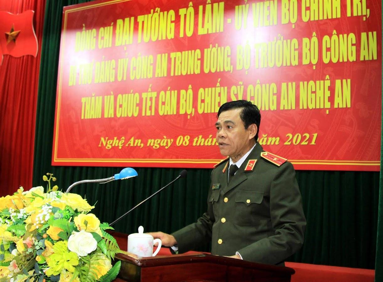 Thiếu tướng Võ Trọng Hải, Giám đốc Công an Nghệ An phát biểu tại buổi làm việc