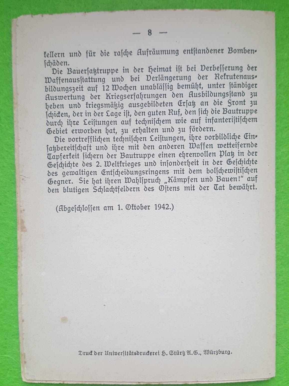 Generalleutnant Klingbeil, Anlage zum Liederbuch für Bautruppen, 1942