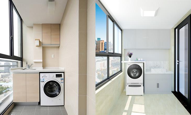 không nên đặt máy giặt ở ban công nhà