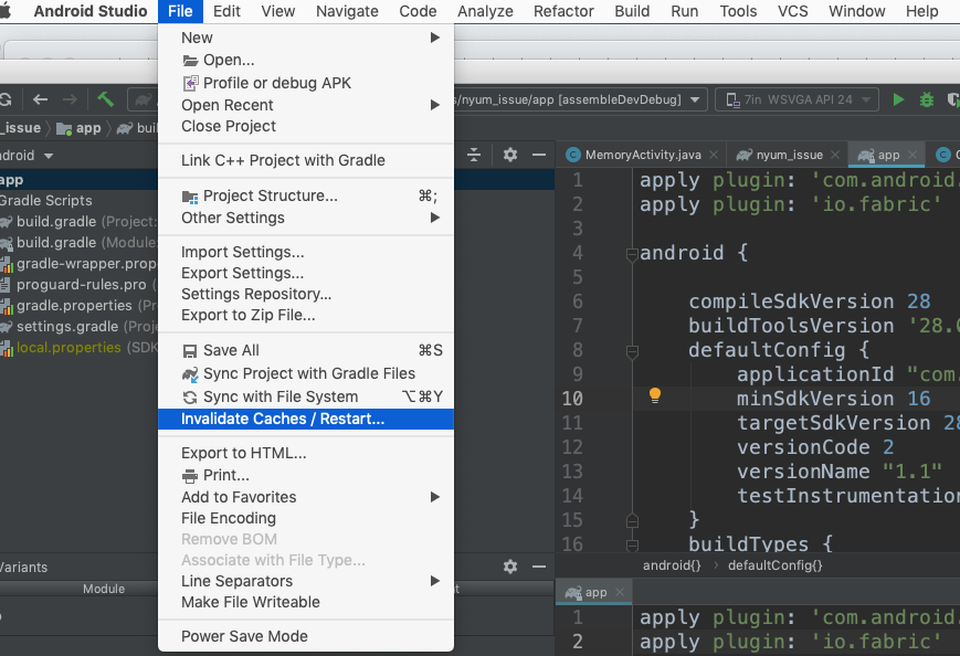 Go to the File menu and click on Invalidate Caches / Restart option then restart the Android Studio automatically.