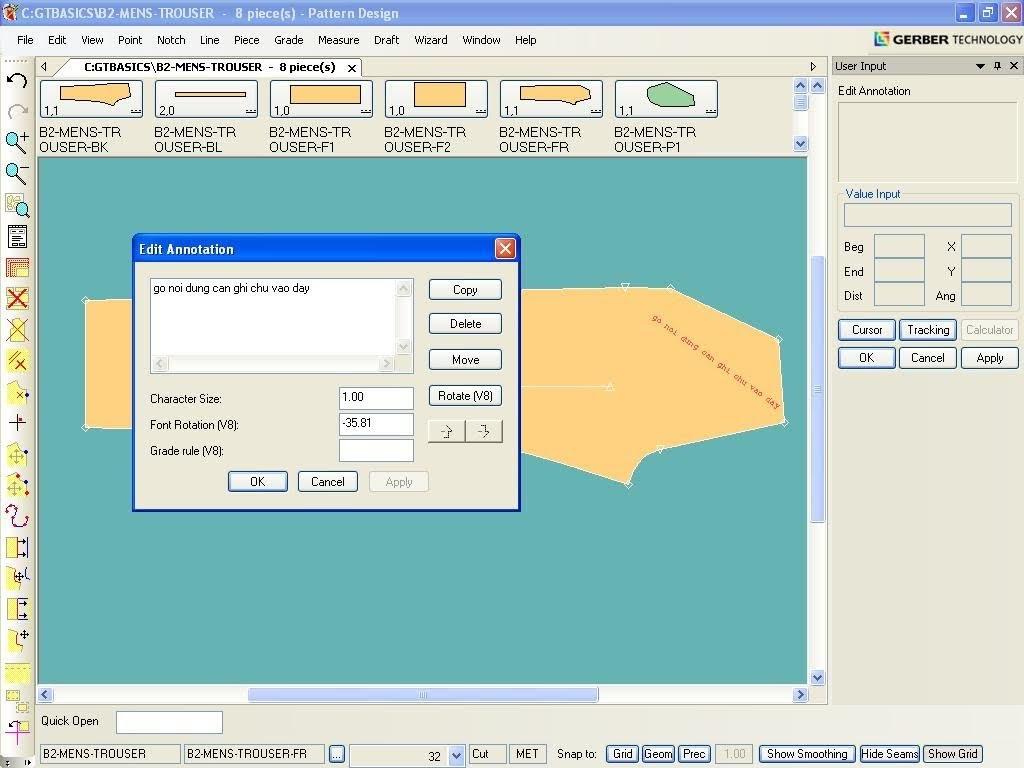 Tạo Ghi Chú Lên Chi Tiết Rập Trong Gerber Pattern Design 5