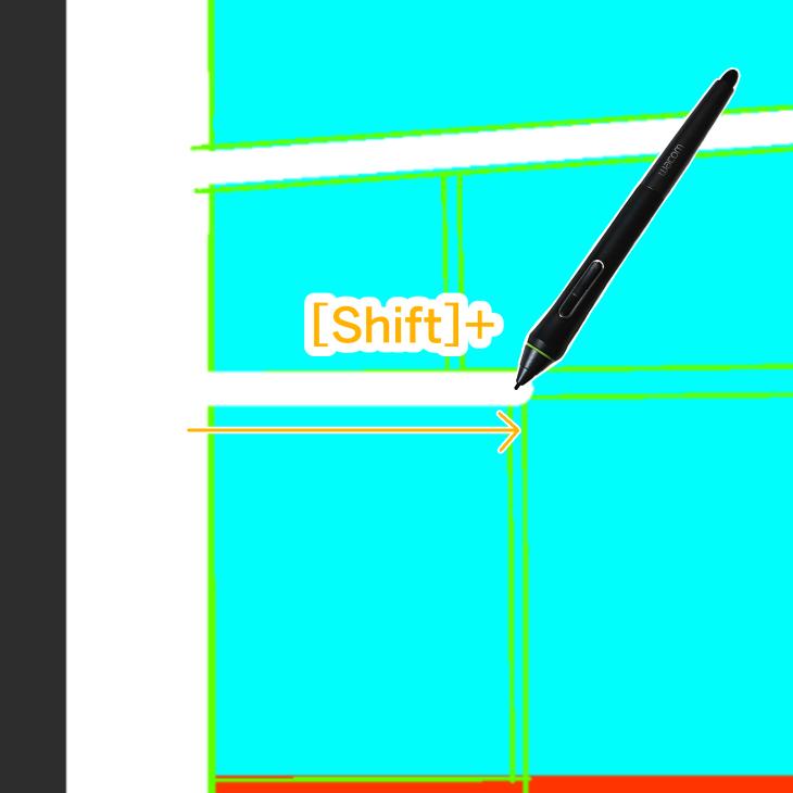 Shiftで水平・垂直に描画