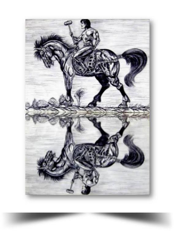 El Caballero Andante Plumilla 2015 Obra del Artista Ecuatoriano Lalinchi Arreaga Burgos E.E.A.B