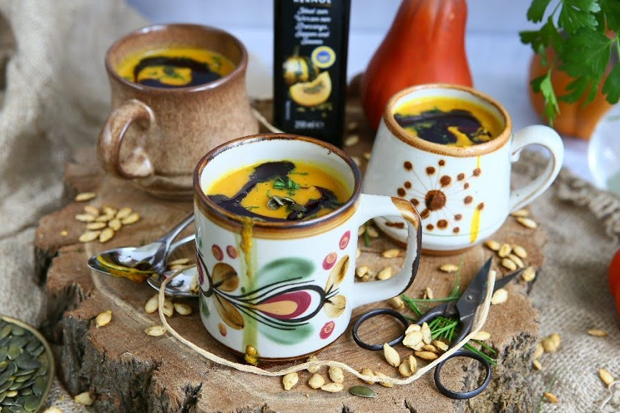 Butternut Squash and Chickpea Soup with Saffron and Pecorino