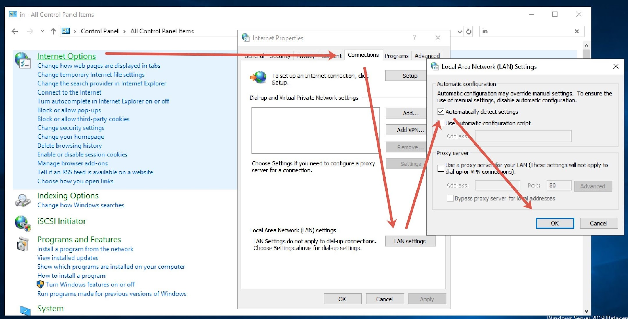 """If you facing this Zoom error on PC, go to Control Panel/> Internet Options > Connections tab > Local Area Network (LAN) settings > Check the Automatically detect settings option."""" width=""""2160″ height=""""1097″></p><h3 id="""