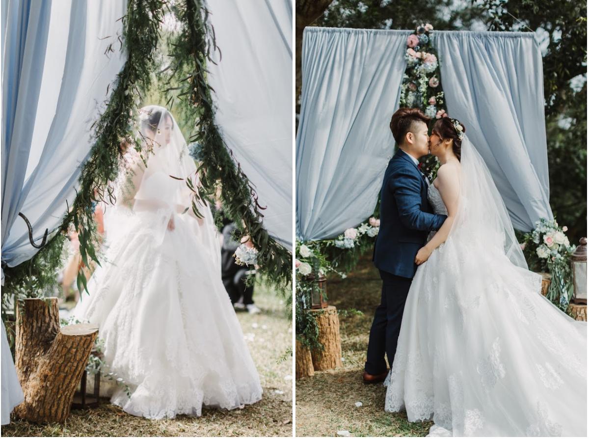 戶外婚禮的親吻