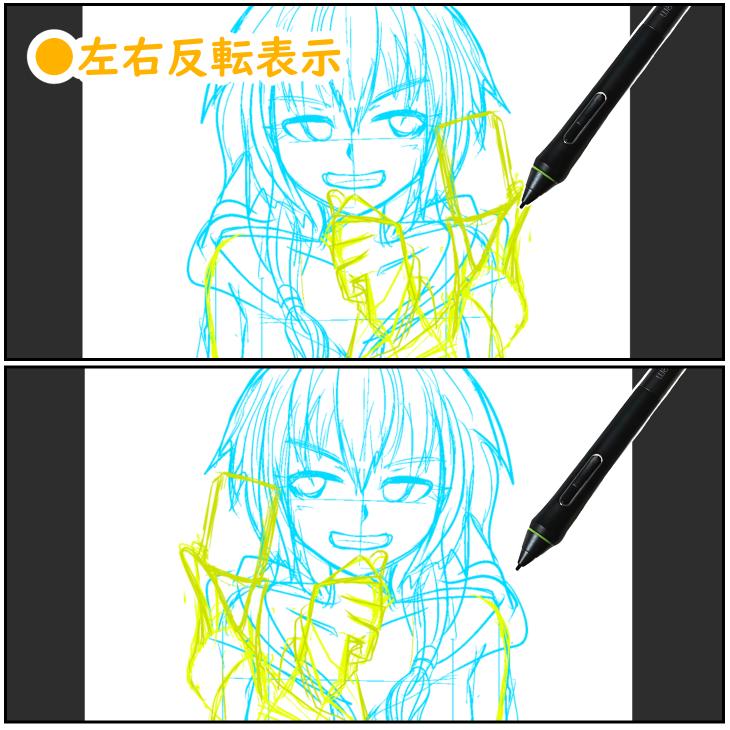 クリスタの画面表示切り替え(左右反転)