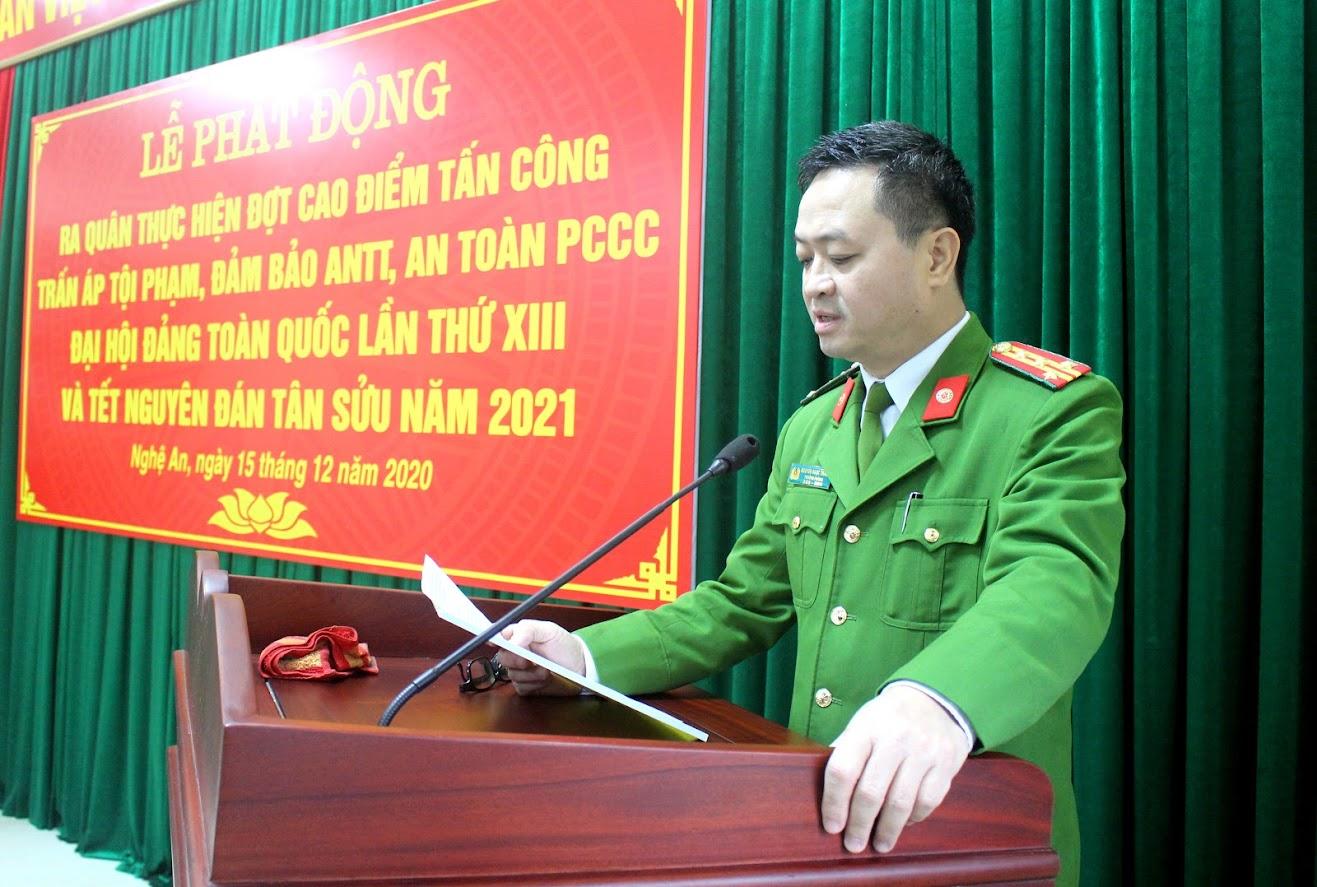 Đại tá Nguyễn Ngọc Thanh – Trưởng phòng Cảnh sát PCCC&CNCH phát biểu tại buổi Lễ phát động.