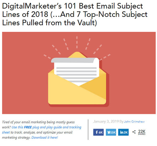 Let's take an example from our own blog. We'll be looking at this post: DigitalMarketer's 101 Best Email Subject Lines of 2018.
