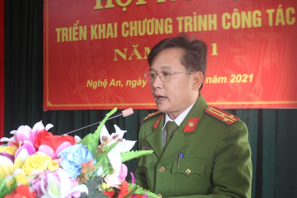 Thượng tá Hồ Nam Long, Trưởng Phòng Cảnh sát Cơ động phát biểu khai mạc hội nghị.