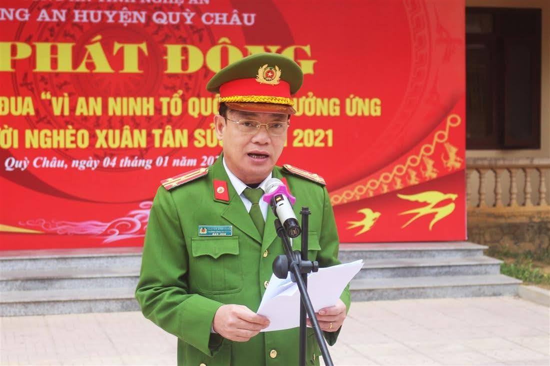 Đồng chí Thượng tá Nguyễn Đình Hùng - Bí thư Đảng ủy, Trưởng Công an  huyện Quỳ Châu phát biểu tại Lễ phát động.