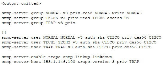 You execute the show run command and receive the following output that relates to SNMP.