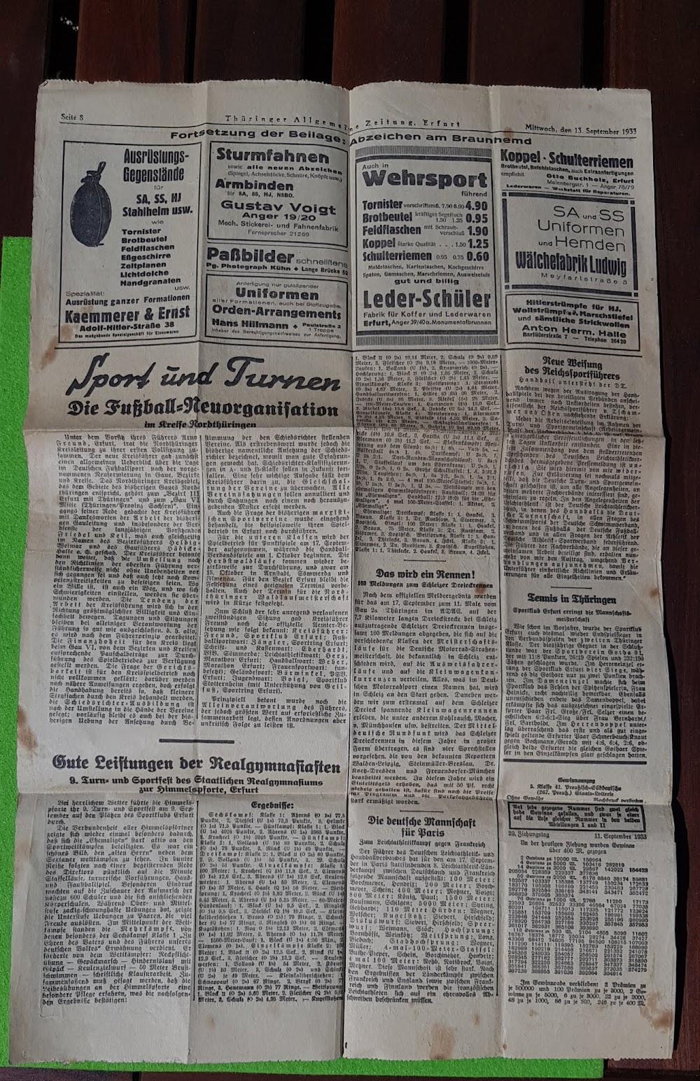 Thüringer Allgemeinen Zeitung vom 13. September 1933, Anzeigen für SA- und SS-Uniformen