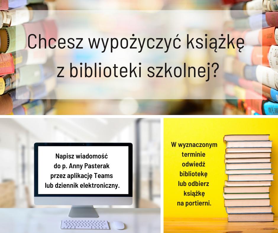 Zaproszenie do kontaktu z nauczycielem bibliotekarzem przez dziennik elektroniczny lub Teams