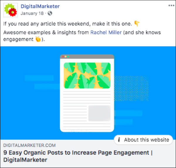 In most cases, you'll need to supply an image of some kind. As you can see in this Facebook example, we use custom images (as opposed to stock images) for our posts to give our brand a consistent look and feel: