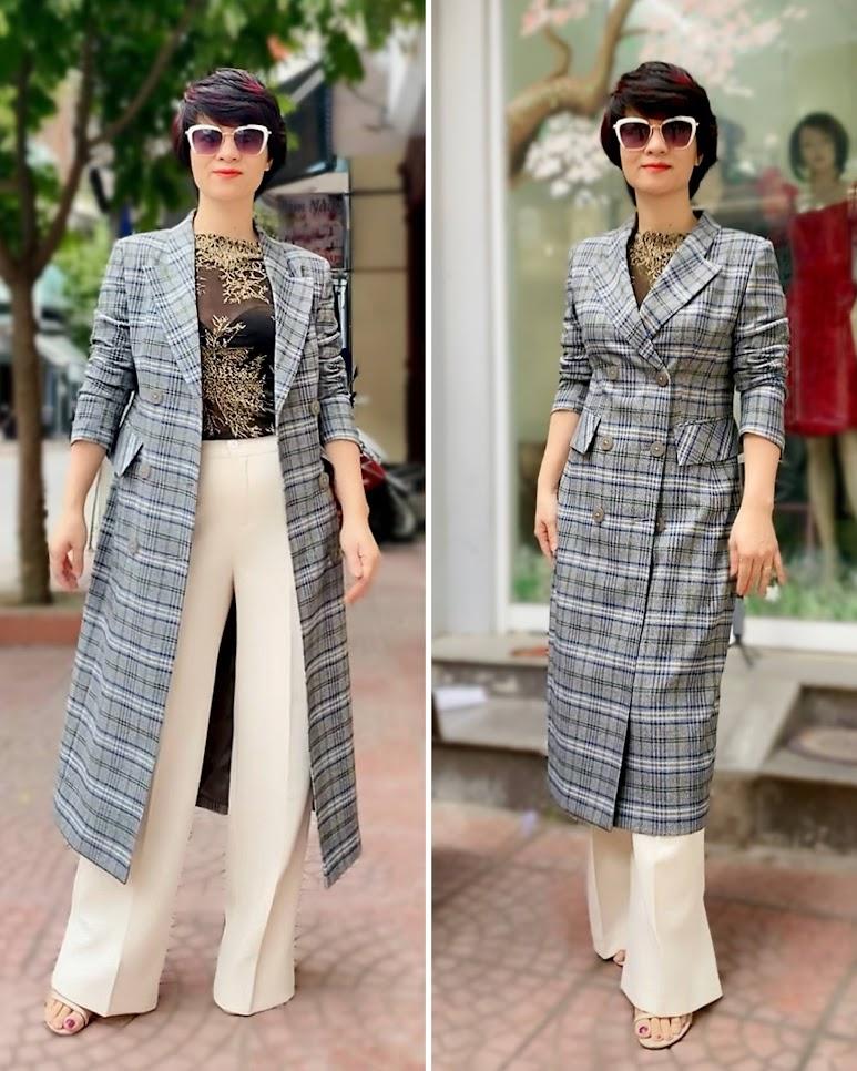 Áo khoác dạ nữ dáng dài kẻ caro mix quần ống suông V742 thời trang thủy hải phòng 1