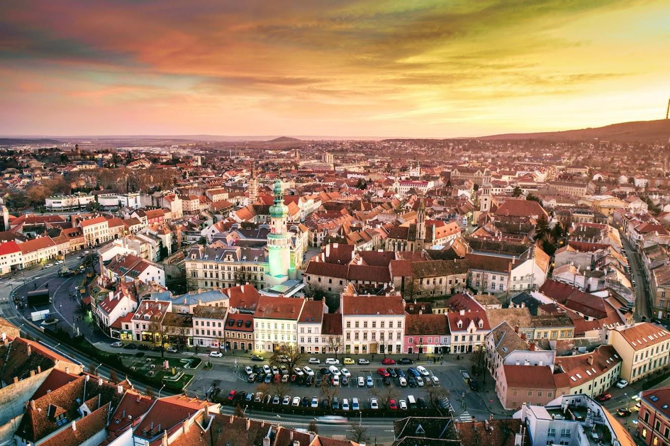 Sopron, Tűztorony, légi fotó