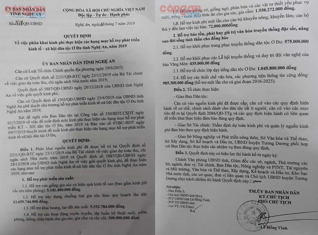 Quyết định của UBND tỉnh về phân khai kinh phí thực hiện đề án