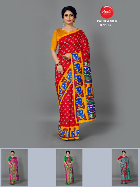 Apple Patola Silk Design No 35 Colour Chart Sarees Catalog Lowest Price
