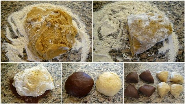 измесване на тестото с брашно и какао, разделяне на части