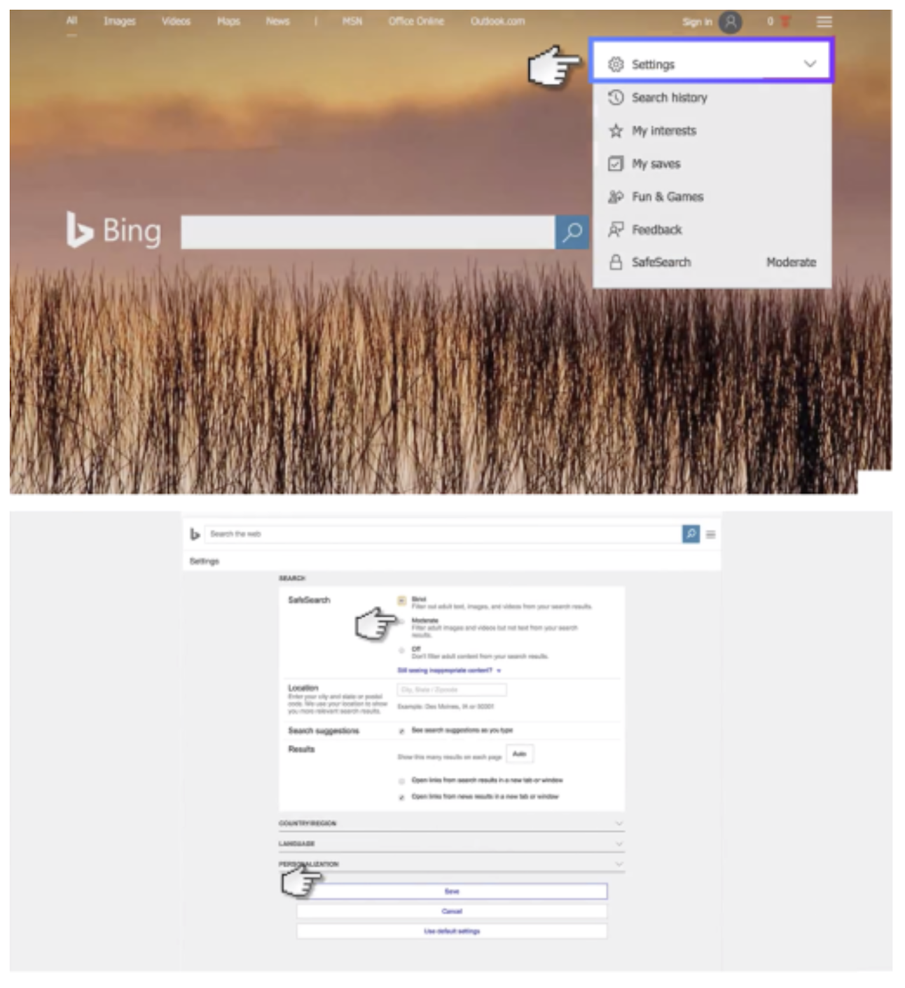 Enable SafeSearch Filters in Bing