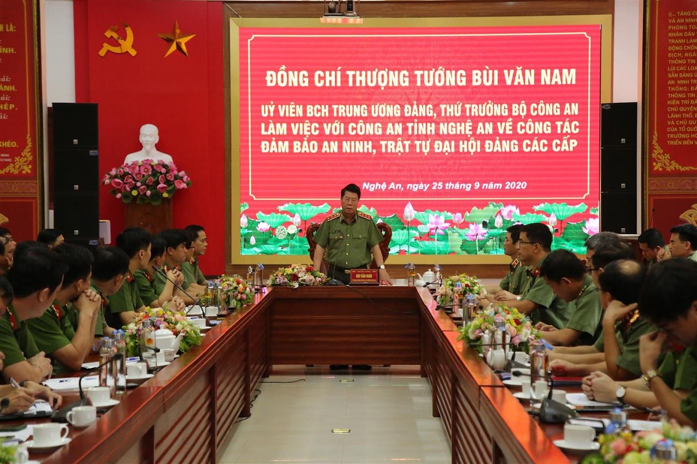 Thượng tướng Bùi Văn Nam, Thứ trưởng Bộ Công an phát biểu chỉ đạo tại buổi làm việc