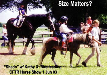 LP Painted ShadoAct with Kathy and 'Dira at the June 2003 CFTR Horse Show