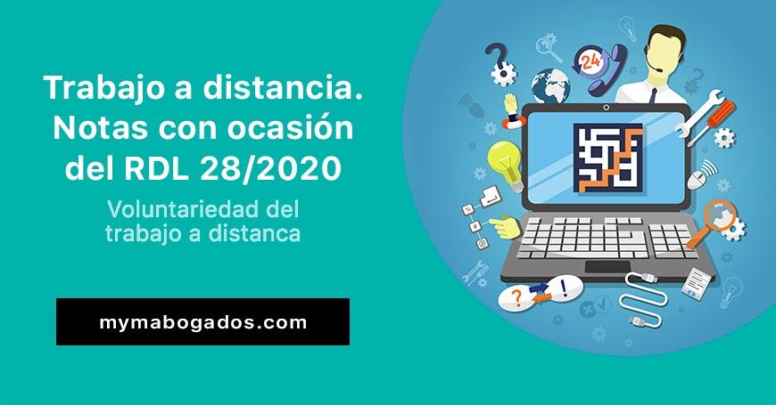 Trabajo a distancia. Algunas notas con ocasión del RDL 28/2020 | Melián Abogados