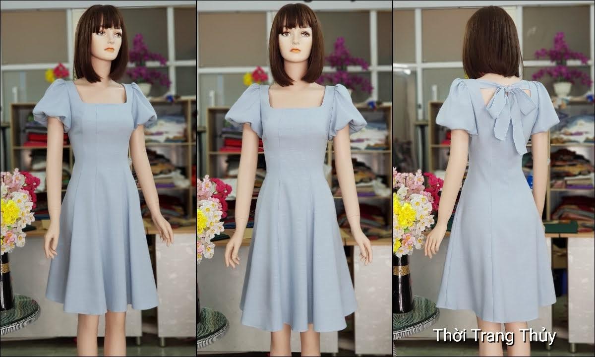 Váy xòe tay bồng cổ vuông màu xanh V719 thời trang thủy hải phòng