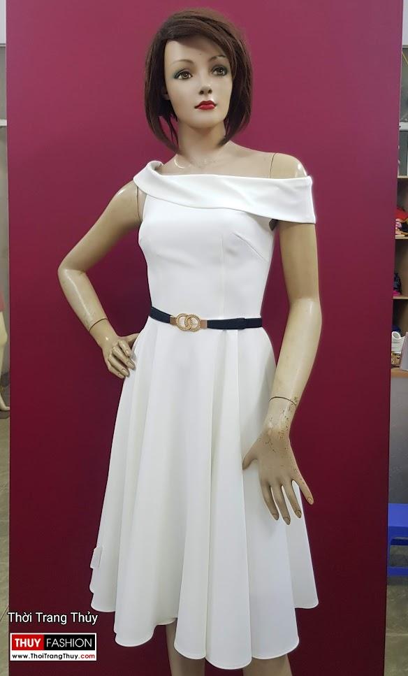 Váy xòe dự tiệc hở vai màu trắng V706 thời trang thủy quảng ninh