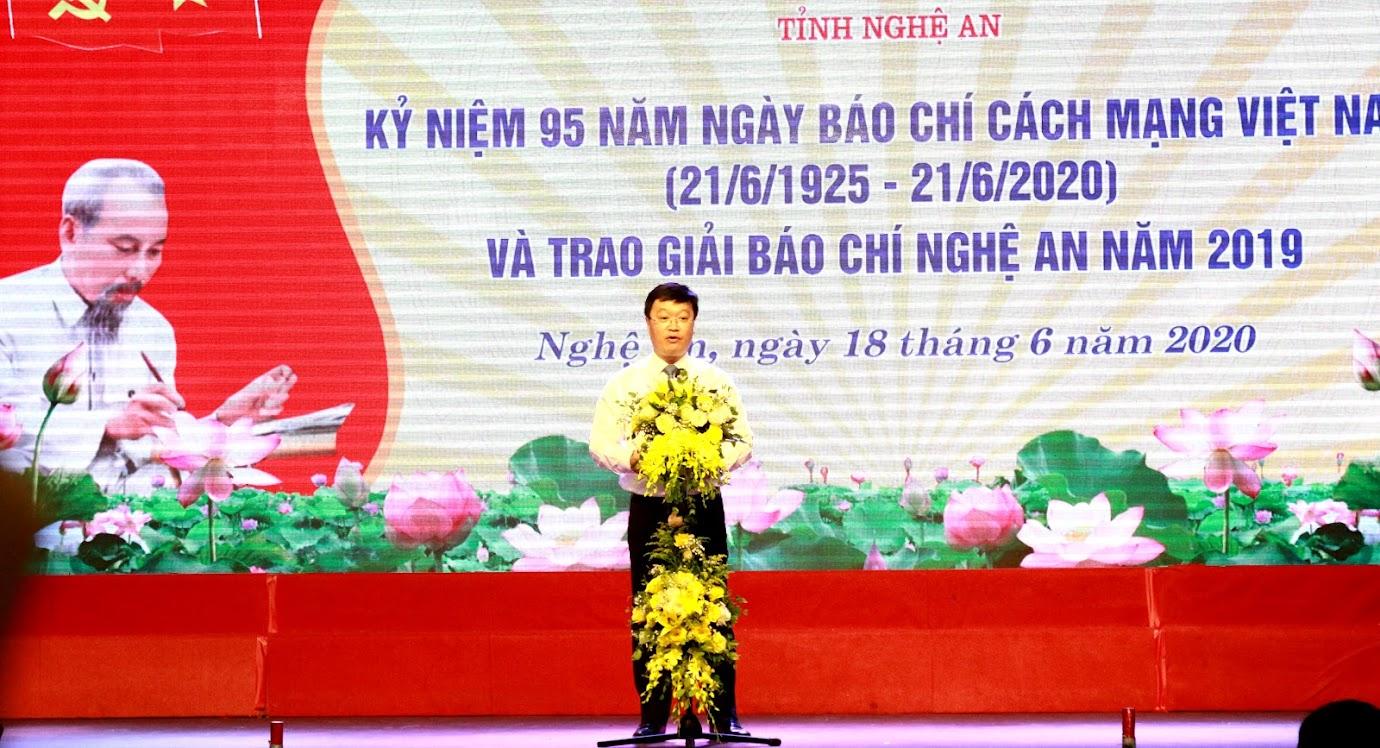 Chủ tịch UBND tỉnh Nguyễn Đức Trung phát biểu tại Lễ kỷ niệm.