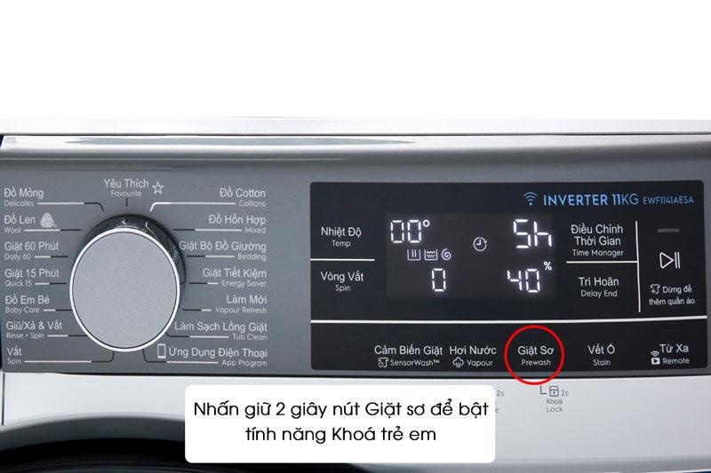 Tinh năng phụ trợ khóa trẻ em của máy giặt Electrolux