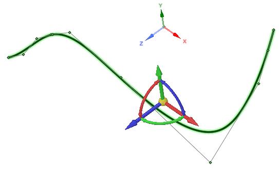 Если вы просто выберете сплайн при помощи инструмента Move, направления осей местной системы координат будут совпадать с глобальной.