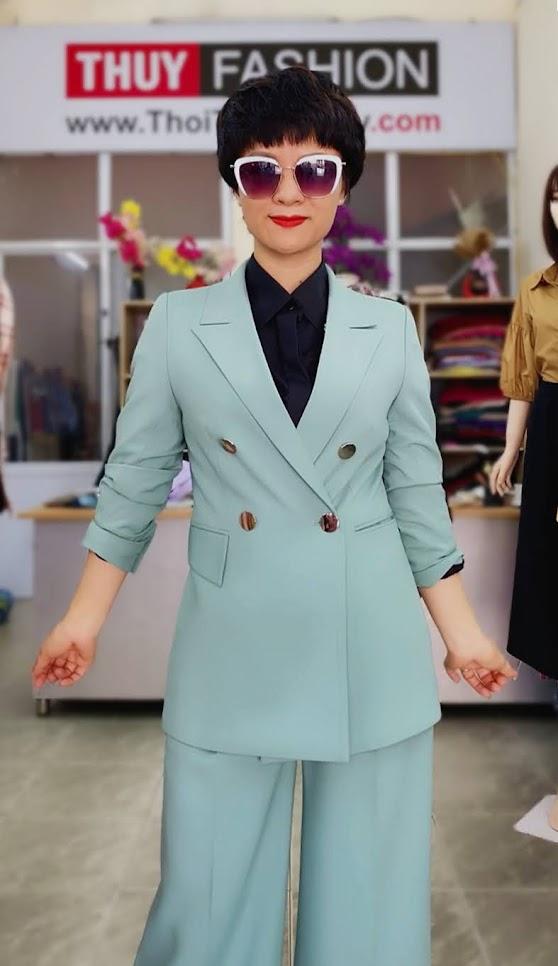 Áo vest nữ mix đồ quần ống suông màu xanh V726 thời trang thủy đà nẵng