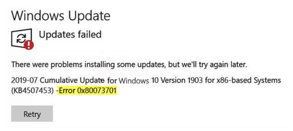 Windows Update. Updates failed. There were problems installing some updates, but we'll try again later.